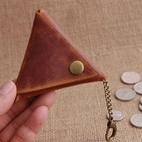 Handmade Triangle Leather Coin Purse Hand Stitched Leather Change Purse