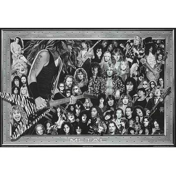 History of Heavy Metal Bands Poster 24x36