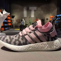 Sale Adidas NMD R2 Primeknit Pink 1 Boost Sport Running Shoes Classic Casual Shoes Sneakers