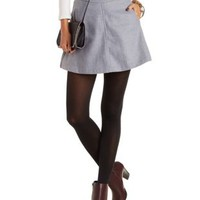 Faux Wool A-Line Mini Skirt with Pockets