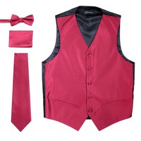 Ferrecci Mens Solid Burgundy Wedding Prom Grad Choir Band 4pc Vest Set