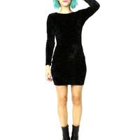Vintage 90s Black Crusehd Velvet Dress Long Sleeve Bodycon Mini Dress Witchy Goth Grunge Low Back Stretchy Velvet Party Dress (XS/S)