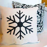 Canvas Snowflake Pillow - Stenciled Pillow - Winter Christmas Pillow - Shabby - Christmas Decor