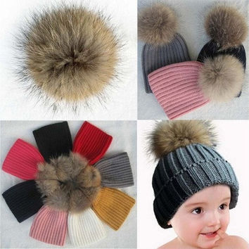 Baby Warm Knit Hat Winter Fur Bobble Hat Cap [8270337537]