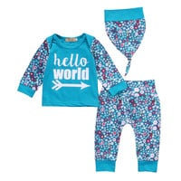 2016 Autumn New baby clothing set fashion Hello Word letter T-shirt+ Pants+Hat 3pcs newborn baby Boys Girls clothes set