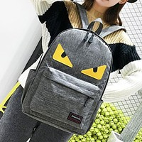 Fendi Fashion New Eye Canvas Women Men Leisure Backpack Bag Gray