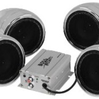 BOSS AUDIO MC470B Chrome 1000 watt Motorcycle/ATV Sound System with Bluetooth Audio Streaming, Two Pairs of 3 Inch Weather Proof Speakers, Aux Input and Volume Control