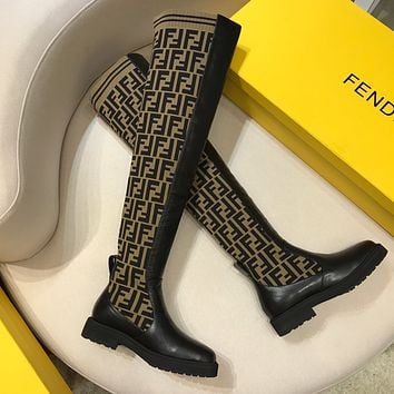 FENDI Logo-jacquard stretch-knit and leather long boots