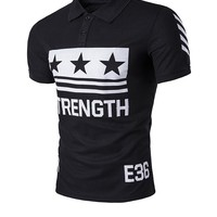 Casual Stylish Polo Collar Color Block Letters Star T-Shirt