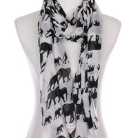 Elephant Boho Print Sheer Scarf in 10 Colors