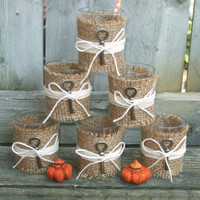 Rustic Wedding Decoration / Fall Wedding Decoration / Fall Home Decoration /  Votive Candle Holder / Burlap  / Twine / Skeleton Key / 6
