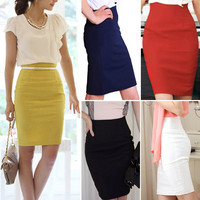 Pencil Skirts Womens High Waist Slim Over Hips Candy Color Formal Saias Feminino Lady Classic Knee-Length Office Skirts