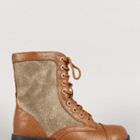 Women's Bamboo Round Toe Military Lace Up Bootie