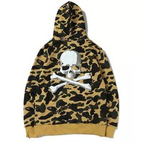Apes Skull Joint Camouflage men Hooded Sweatshirt Japanese Hip Hop kanye yeezus Personality Letters Embroidery ma1 Hoodie Jacket-1