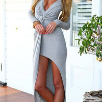 Grey V-Neck Long Sleeve High-Low Hem Dress