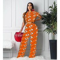 FENDI Newest Popular Women Casual Print Short Sleeve Top Pants Set Two-Piece Sportswear Orange