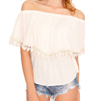 Juliette Off-Shoulder Top- Ivory