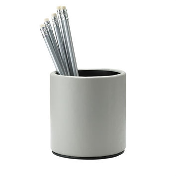 Grey French Calfskin Leather Pencil cup