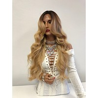 Blond Ombré Swiss Front Lace Wig | Long Soft Layered Hair | Rayne 1018 13