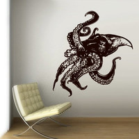 Wall Decal Vinyl Sticker Decals Octopus Sprut Poulpe Delfish tentacles Ocean Dorm Bedroom Monster z3039
