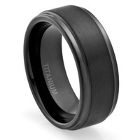 8MM Comfort Fit Titanium Wedding Band   Engagement Ring with Black Plated and Brushed Top finish   Grooved Polished Edges