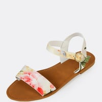 Flower Print Single Band Ankle Strap Flat Sandal WHITE MULTI