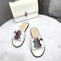 GUCCI Women Fashion Genuine Leather White Casual Sandals Slipper Shoes Sale