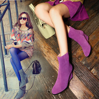 Winter Simple Design Wedge High Heel Leather Casual Dr Martens Boots [6048880897]
