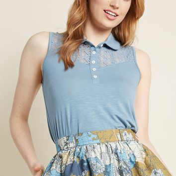Favorable Flourish Collared Knit Top