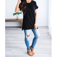 Let's Be Friends Rolled Sleeve Tunic Top - Round Neck
