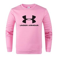 Under Armour Autumn And Winter New Fashion Letter Print Women Men Long Sleeve Top Sweater Pink