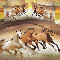 European Style Galloping Horse Reactive Print 4 Piece Bedding Set 3D Bedding Sets Hot Sale Style