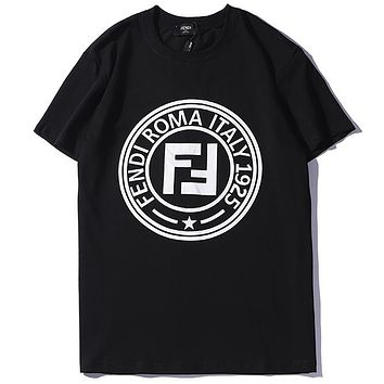 Fendi 2019 new round neck letter logo men and women round neck pullover T-shirt top Black