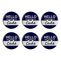 Cade Hello My Name Is Plastic Resin Button Set of 6