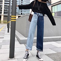 Deconstructed Two Tone Jeans