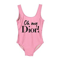 DIOR 2018 New Women's Sexy High Quality One Piece Swimwear Bikini F-ZDY-AK Pink+black letters
