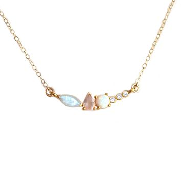 Rainbow Moonstone, Opal, Rose Quartz and Diamond Wish Pendant