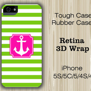 Green Stripes Pink Anchor iPhone 6/5S/5C/5/4S/4 Case