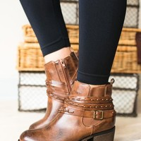 Riley Braided Wrap Brown Bootie
