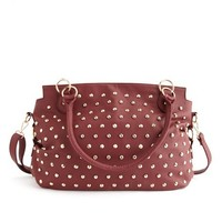 Front Studded Tote Bag: Charlotte Russe
