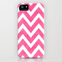 pink chevron iPhone Case by her art