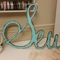 Rustic Sew sign shabby chic aqua PERSONALIZE your WORD home decor photo prop cottage teal farmhouse primitive gift distressed aged style