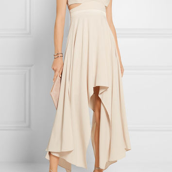 Halston Heritage - Cutout satin-trimmed stretch-crepe dress