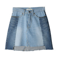 Paneled Faded Wash Denim Skirt | STYLENANDA