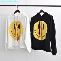 vlone smile face sili face hooded pullover hip-hop loose oversize hip hop sweate