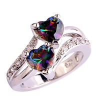 2017 Women Fashion Lover Jewelry Ring Light Ring Heart Cut Rainbow Gemstone Diamond Silver Ring Size 6 7 8 9