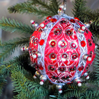 Christmas Ornament, Red Ball with Silver & Pearl Accents in Gift Box, Handmade Fabric Tree Decoration, Holiday Decor, Boxed Wrapped Present