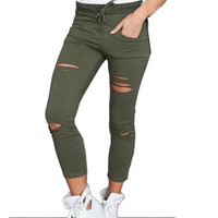 Women's High Waist Stretch Ripped Slim Pencil  Pants Denim Jeans Ripped Skinny Cut High Waist Trousers Skinny