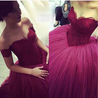 Free Shipping Puffy Ball Gown Prom Dress Busque Waistline Prom Gown