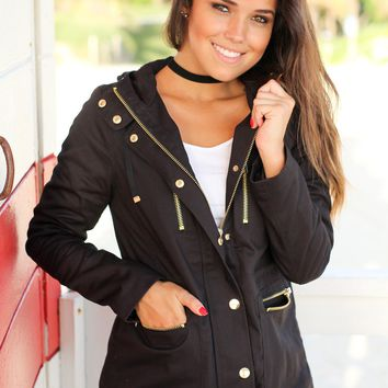 Black Jacket with Gold Zippers